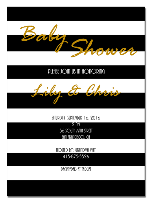 B&W Stripes Baby Shower Invitations