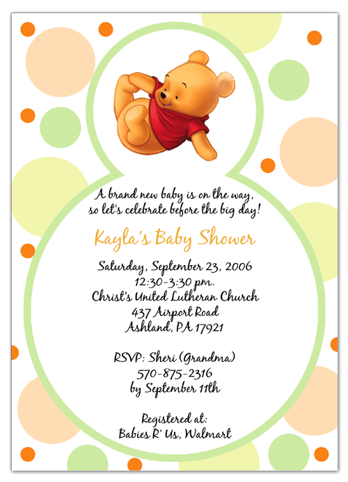847- Winnie the Pooh Baby Shower Invitations